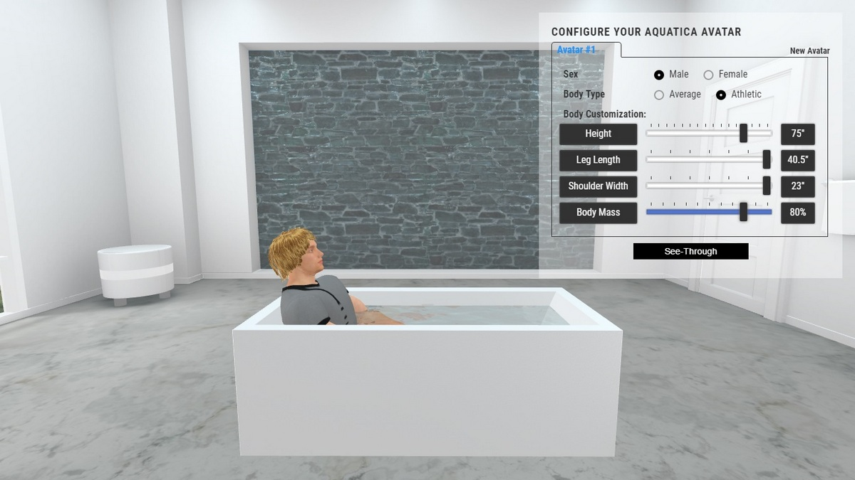 Continental Bathtub 3D Body Position