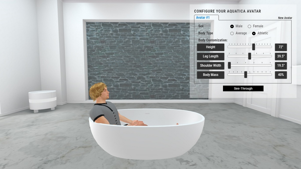Corelia Bathtub 3D Body Position