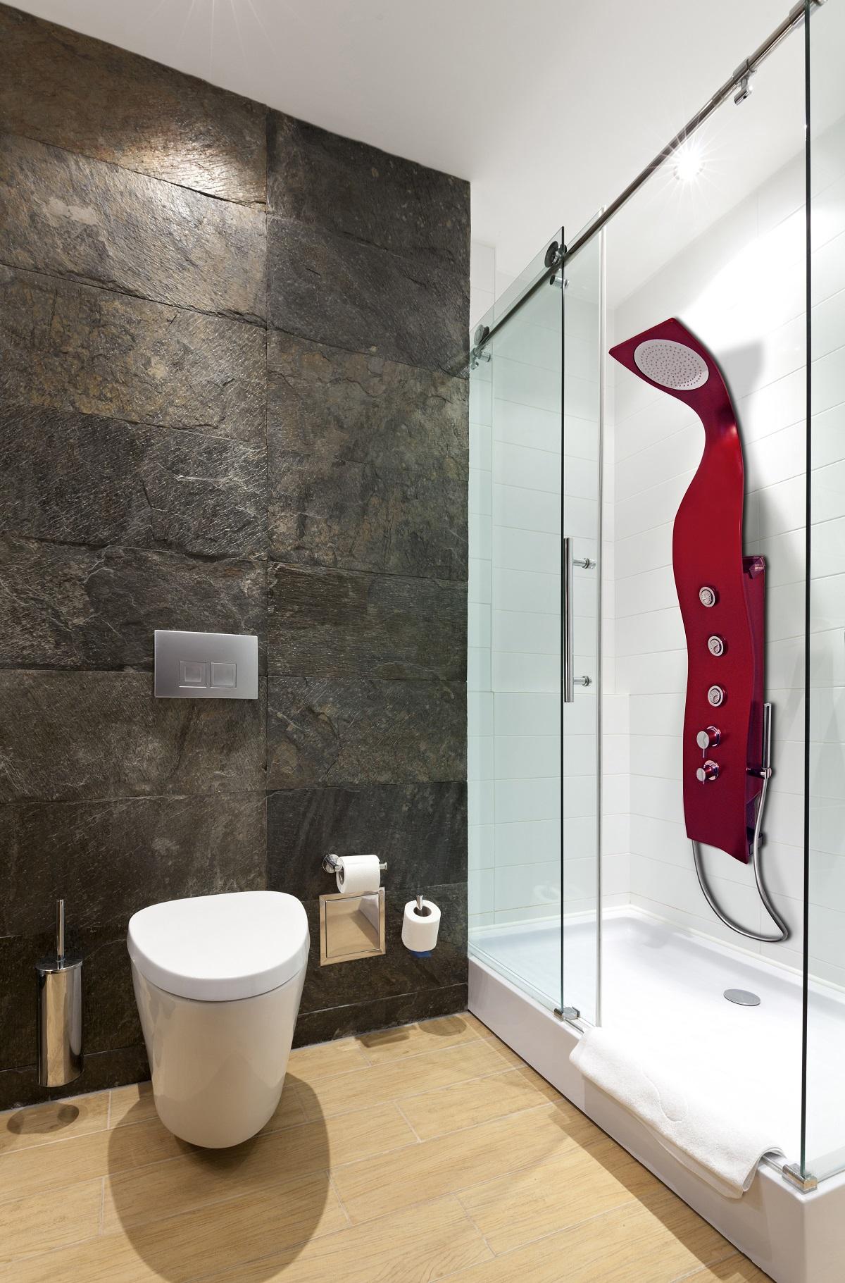 panneau de douche en surface solide elise montage mural par aquatica rouge mat. Black Bedroom Furniture Sets. Home Design Ideas