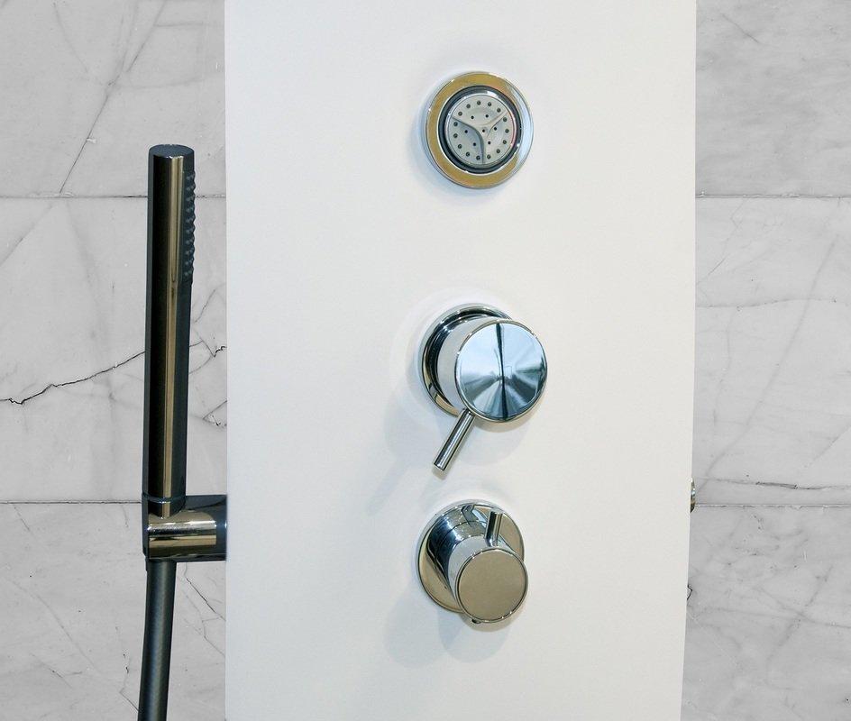 panneau de douche en surface solide elise montage mural par aquatica blanc mat. Black Bedroom Furniture Sets. Home Design Ideas