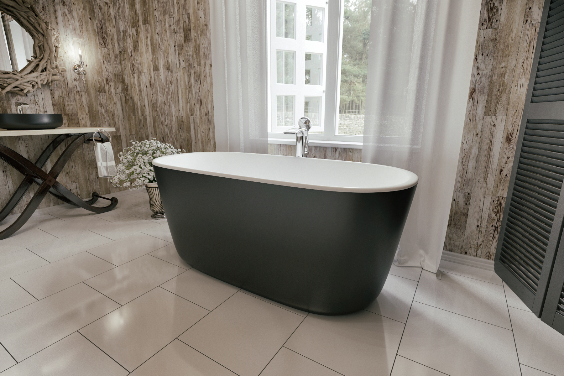 Lullaby Blck Wht Freestanding Solid Surface Bathtub by Aquatica (5)