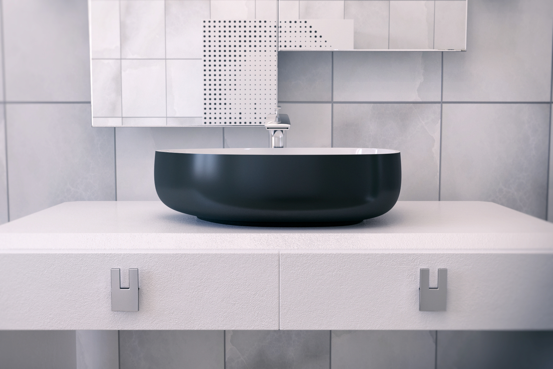 Evier salle de bain noir bathroom concrete black and for Evier de salle de bain en pierre