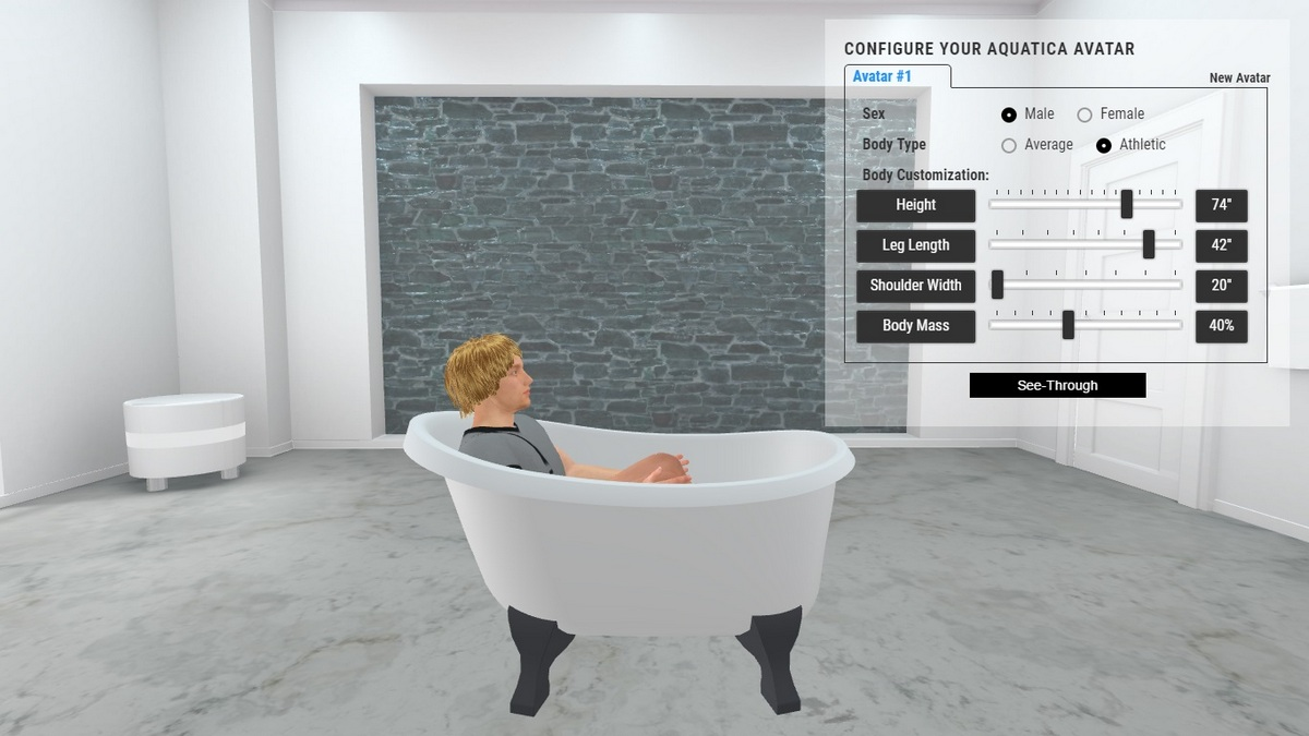 Piccolo Bathtub 3D Body Position