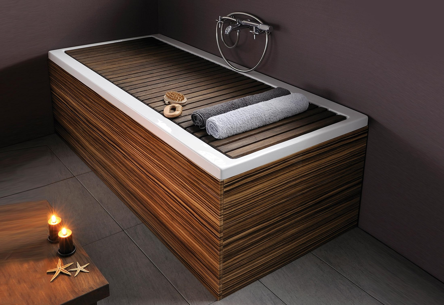 wooden bath with candle
