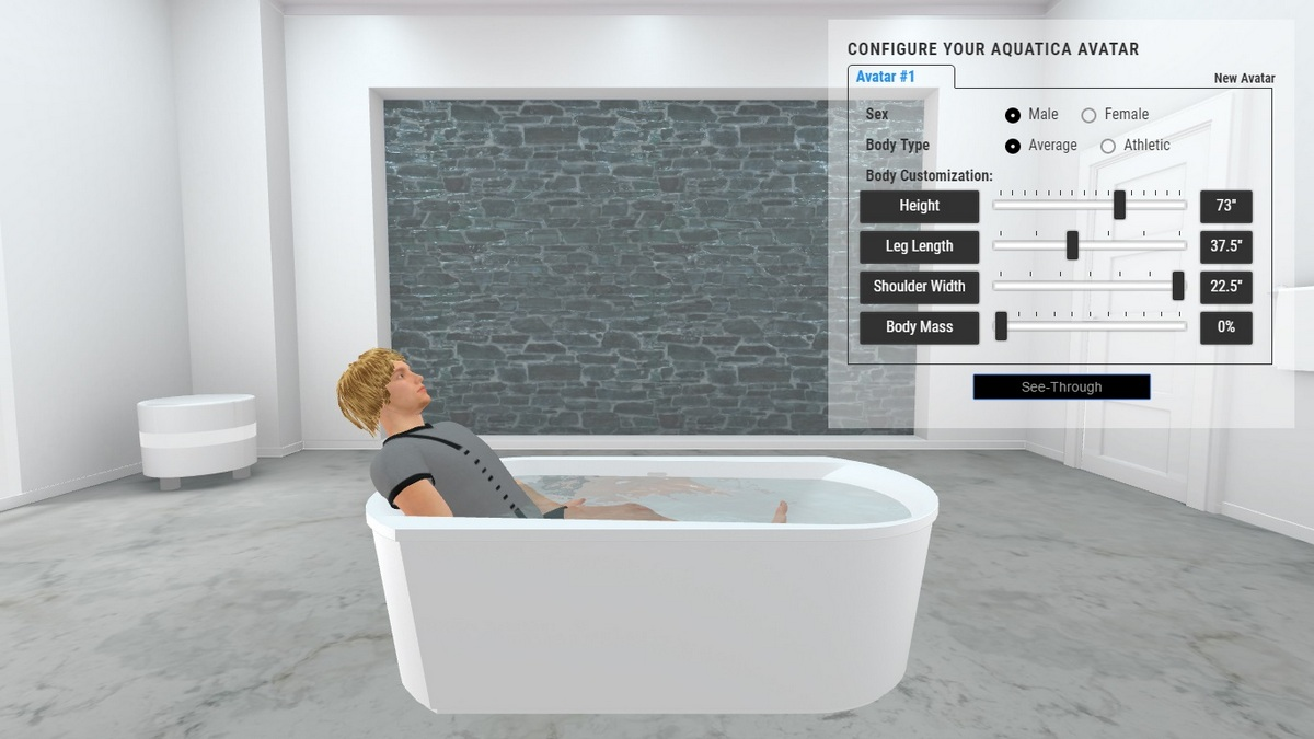 Purescape 107 Bathtub 3D Body Position