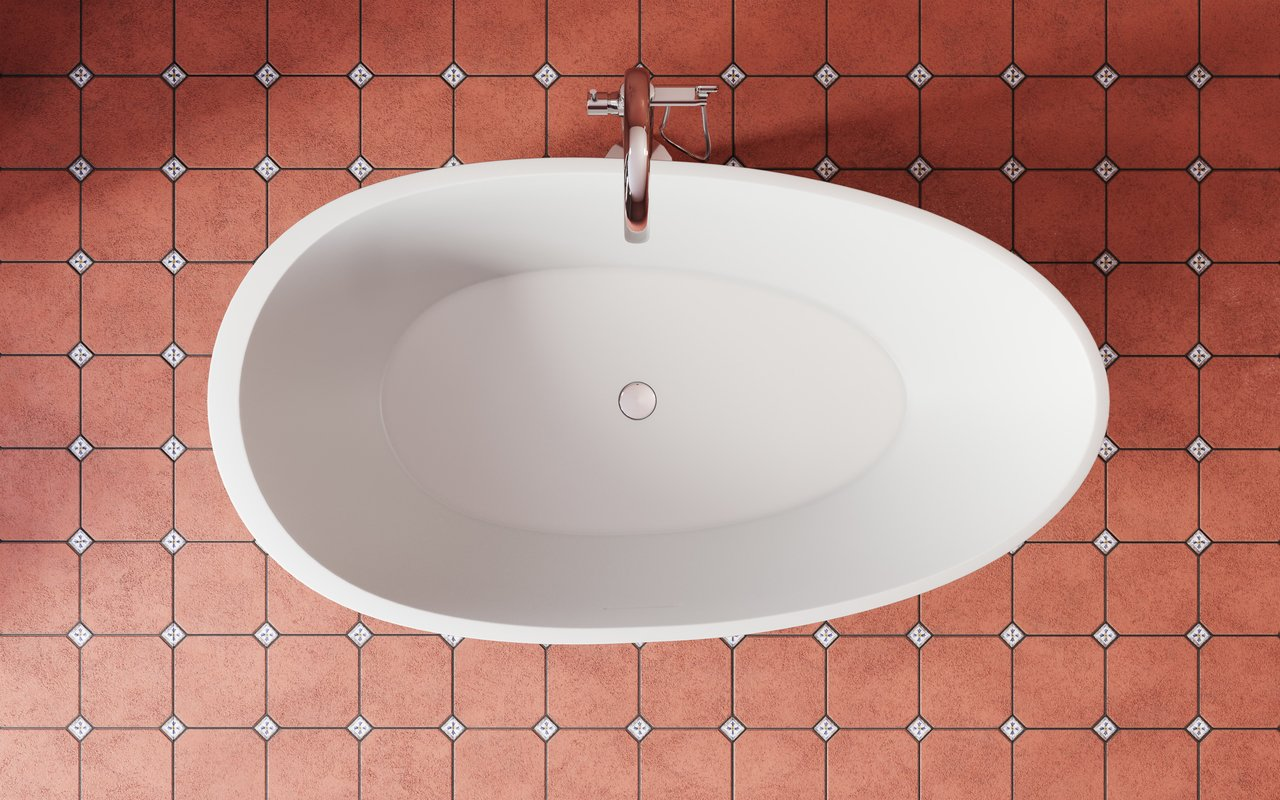 Spoon 2 RAL3009 Freestanding Egg Shaped Solid Surface Bathtub 3 (web)