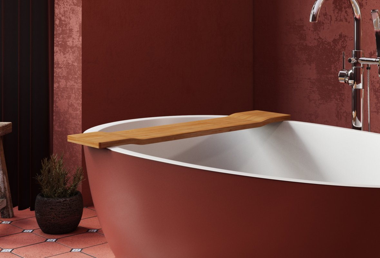 Spoon 2 RAL3009 Freestanding Egg Shaped Solid Surface Bathtub Tidal tray (web)