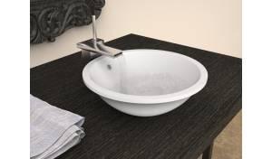Aquatica Lotus-Wht Round Stone Vessel Sink