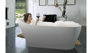 Aquatica Emmanuelle-Wht™ Freestanding Solid Surface Bathtub