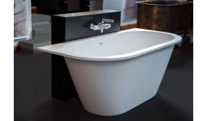 Aquatica Inflection B-W-Wht™ Back To Wall Cast Stone Bathtub
