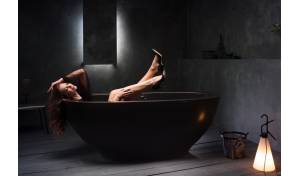 Aquatica Karolina™ Graphite Black Solid Surface Bathtub