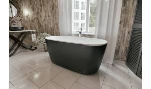 Aquatica Lullaby-Blck-Wht™ Freestanding Solid Surface Bathtub