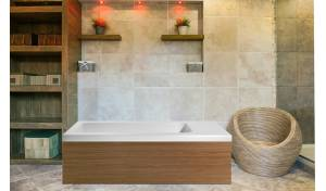 Pure 2L™ Back To Wall Solid Surface Bathtub with Light Decorative Wooden Side Panels