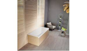 Pure 1L™ Back To Wall Solid Surface Bathtub with Light Decorative Wooden Side Panels
