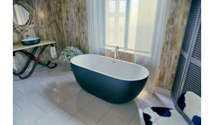 Aquatica Corelia-Black-Wht Freestanding Solid Surface Bathtub