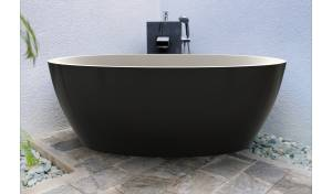 Aquatica Sensuality Black-Wht™ Freestanding Solid Surface Bathtub