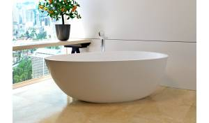 Aquatica Spoon 2 (Purescape 204AM) Egg Shaped Freestanding Solid Surface Bathtub