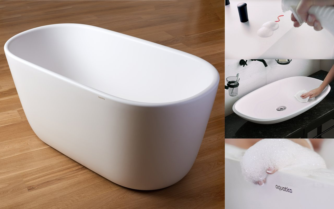 Nonporous AquateX™ and NeroX™ solid surface tubs and washbasins