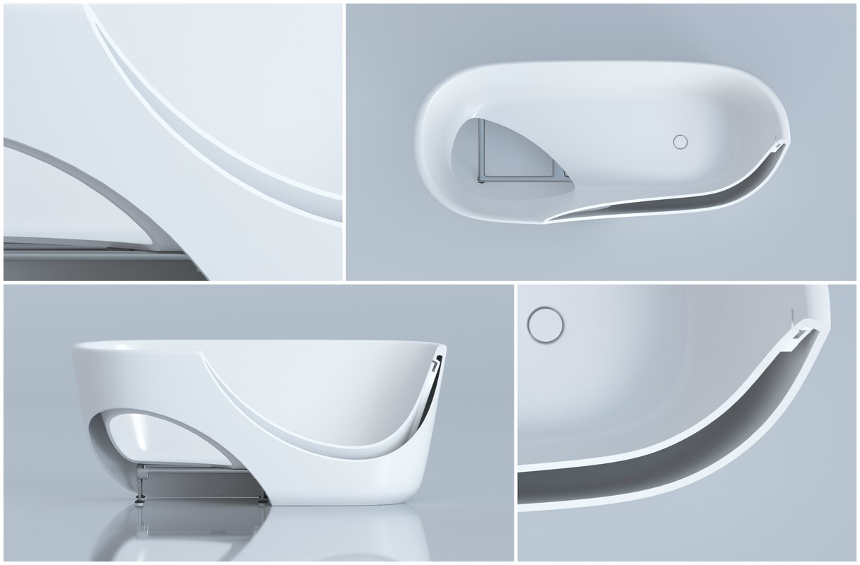 Unique lightweight dual wall solid surface tub design with inconspicuous seams (web)
