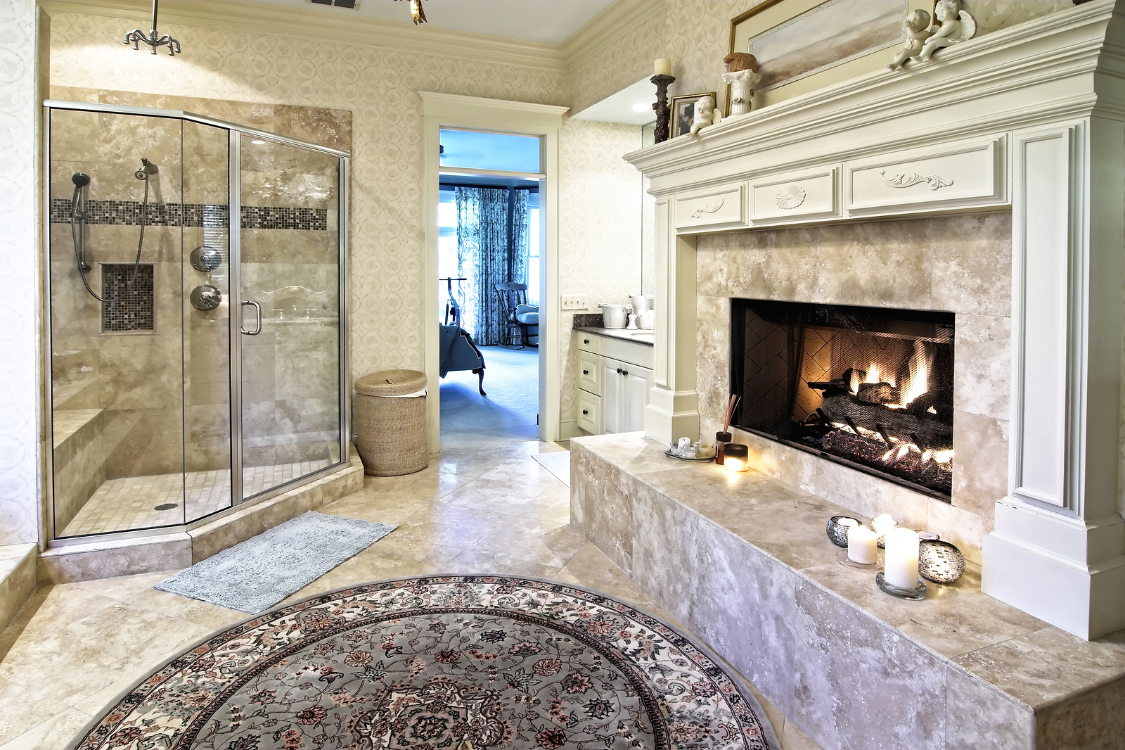 bigstock opulent bathroom with fireplac 18526721